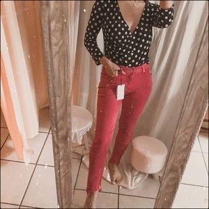 Zara fuchsia pink distressed hem skinny jeans
